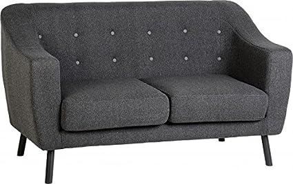 Seconique Ashley 2-Sitzer-Sofa, Stoff, dunkelgrau Stoff