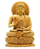 Hand Carved Wood Sitting Buddha Statue