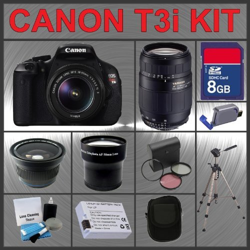 Canon EOS Rebel T3i 18MP Digital Camera with EF-S 18-55mm IS II Lens & Tamron AF 75-300mm f/4.0-5.6 LD for Canon Digital SLR Cameras + 8GB Memory Card + Spare Extended Life Li-Ion Battery + 3 Piece Lens Filter Kit + 2.0 USB SD Memory Card Reader + Wide An