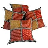 Little India Sanganeri Bagru Print Cotton 5 Piece Cushion Cover - Multicolor