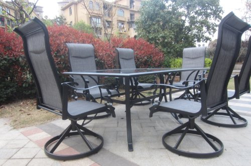 7pc Cast Aluminum Swivel Patio Furniture Set
