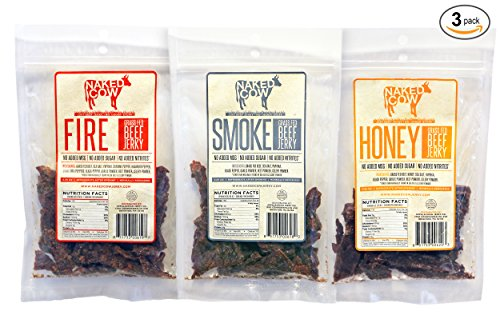 Naked Cow All Natural Grass Fed Beef Jerky - SAMPLER includes ONE (1) bag of HONEY, FIRE and SMOKE (Top Rated Beef Jerky compare prices)
