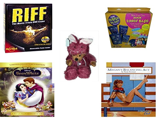 [Girl's Gift Bundle - Ages 6-12 [5 Piece] - Riff DVD Game - Denim Lunch Bags Party Kit Toy - Teddy Bear Plush In Purple Mouse Costume 12