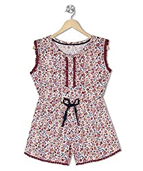 Budding Bees Girls Red Printed Jumpsuit
