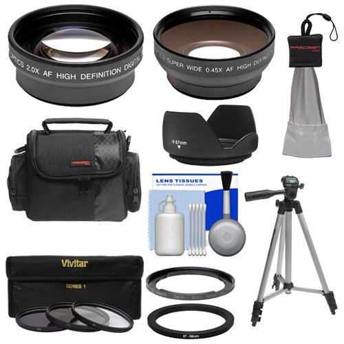 Bower FA-DC67A Adapter Ring for Canon PowerShot SX530 SX540 & SX60 HS Camera + .45x Wide Angle & 2x Telephoto Lenses + 3 UV/ND8/CPL Filters + Hood + Case Kit  available at amazon for Rs.11199