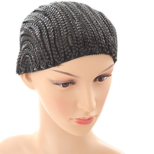 [Meetu Braided Wig Caps Crotchet Cornrows Cap for Easier Sew in Spider Braiding Wig Cap Weaving Cap with Braids Black Color] (Cornrow Wigs)