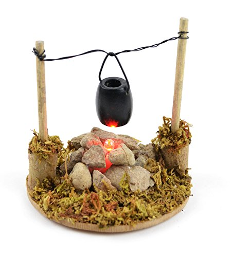 Touch of Nature 1-Piece Miniature Garden Fire Pit and Cooking Pot with LED Lighted, 3.25 by 8.3-Inch