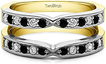 10k Gold X Design Channel Set Jacket Ring Guard with Black And White Diamonds 036 ct twt