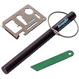 bayite 6 Inch X 1/2 Inch Drilled Ferrocerium Rod Flint Fire Starter with Striker Steel & Wire Keychain & Multi Tool Card