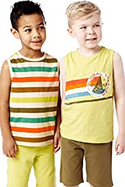 2 Pack Pure Cotton Flecked Vests