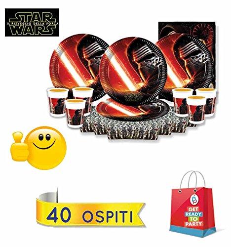 Kit festa compleanno Star Wars, 40 ospiti (40 piatti + 40 bicchieri+ 40 tovaglioli+ 1 tovaglia)