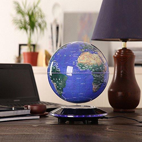 Senders 6Inch Floating Globe with LED Lights Magnetic Levitation Floating Globe World Map for Desk Decoration (Blue,6Inch) 3