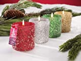 Pack of 8 Holiday Sparkle Peppermint Scented Beaded Glass Christmas Candles