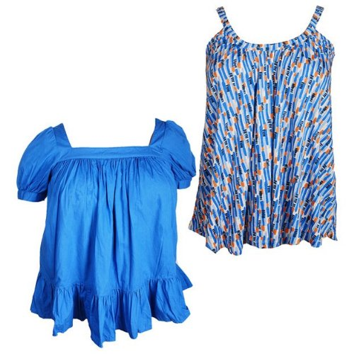 Tommy and Kate Ladies 2 Pack Blue Printed Cami and Blue Square Neck Tops in Size Medium