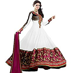 Prachi Silk Mills Women`s Georgette Embroidered Semi-stitched Salwar Suit Dupatta Material(White Anarkali)