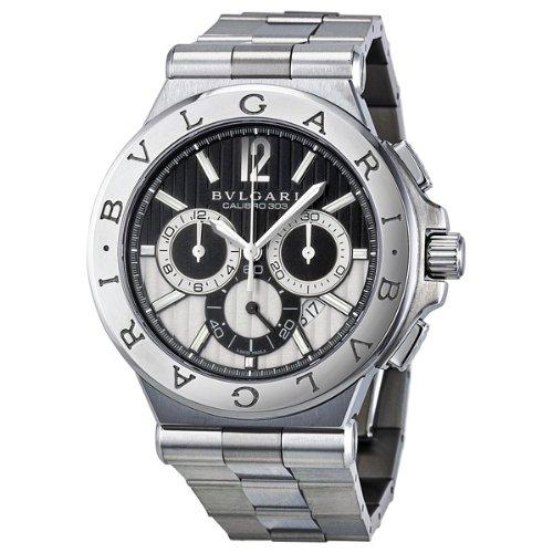 Bvlgari Diagono Chronograph Automatic Black and Silver Dial Mens Watch 101880