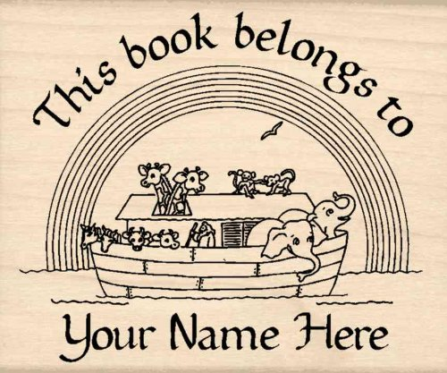 Custom Made & Personalized - Noah's Ark This Belongs To: Bookplate Rubber Stamp - 2-1/4 inches x 3 inches (Custom Bookplates compare prices)