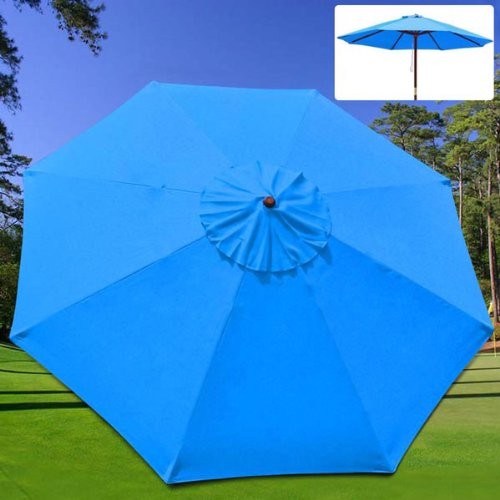 Patio Umbrella Material Replacement: Heavy Duty Blue Polyester 10x10 Ft Patio Replacement