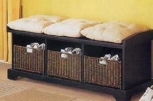Black Finish Wicker Basket Storage Bed Bench