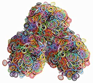 Latex-free Silicone Refill Bands for Rainbow Loom - 1800pcs Mixed Colors with 85+ C_clips and S_clips Mix.