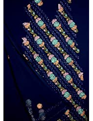 Exotic India Midnight-Blue Salwar Suit With Ari Embroidered Flowers And S - Blue