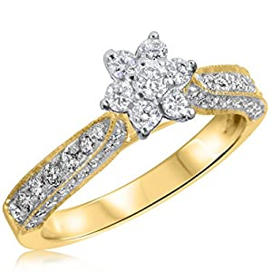 3/4 CT. T.W. Diamond Ladies Engagement Ring 10K Yellow Gold- Size 4.25