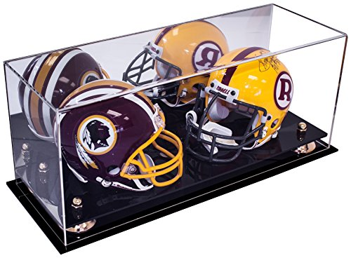 Deluxe Acrylic Collectible Double Mini Football NFL Helmet, Mini Goalie Mask Display Case with UV Protection with Mirror (A019) (Nfl Mini Football Display Case compare prices)