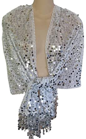 Sheer White & Silver Sequin Fringed Evening Wrap Shawl for