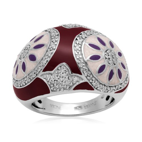 Sterling Silver Enamel Flower Diamond Ring (1/4 cttw, I-J Color, I2-I3 Clarity), Size 6