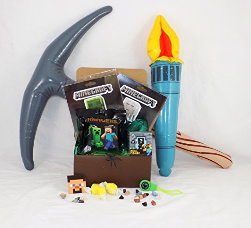 Minecraft Themed Candy and Toy Gift Basket in a Treasure Box