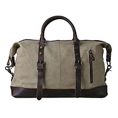 Kattee Mens Canvas Leather Holdall Travel Duffle Overnight Weekend Satchel Totes Bag Handbags