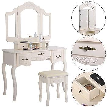 Giantex Tri Folding Vintage White Vanity Makeup Dressing Table Set 5 Drawers &stool