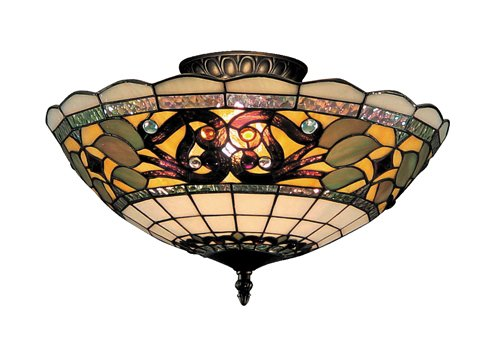 B000O707QQ Landmark 941-TB Tiffany Buckingham 3-Light Semi-Flush Mount, 8-Inch, Vintage Antique with White Tiffany Style Glass