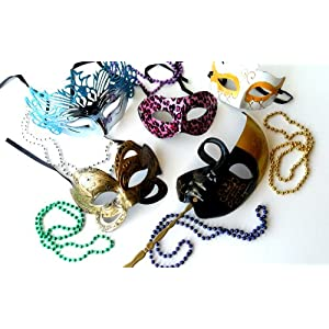 Mardi Gras Party Pack Kit Mask Set Includes 5 Different Masquerade Masks