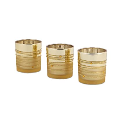 Two-Tone Gold Embellished Glass Christmas Votive Candle Holders Pack of 3 by Melrose