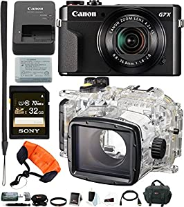 Canon PowerShot G7X Mark II Camera With Canon WP-DC55 Waterproof Case & 32GB kit