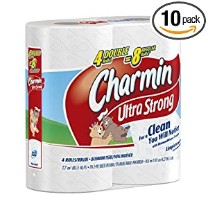 Charmin Ultra Strong Toilet Paper 4 Double Rolls, (Pack of 10)