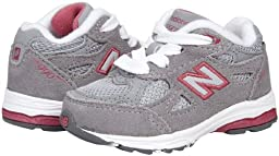 New Balance KJ990 Lace-Up Running Shoe (Infant/Little Kid),Grey/Pink,3 M US Infant