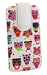 Emartbuy® Multi Coloured Owls Print Premium PU Leather Slide in Pouch Case Cover Sleeve Holder ( Size LM2 ) With Pull Tab Mechanism Suitable For Xiaomi Redmi 4
