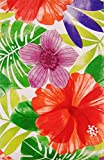 """Vivid Tropical Forest with Zipper Umbrella Hole Vinyl Flannel Back Tablecloth (70"""" Round)"""