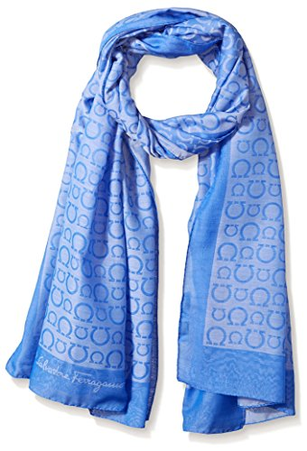 Salvatore-Ferragamo-Womens-Patterned-Scarf-Blue