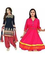 Sky Global Women's Regular Wear Dress Material And Kurti (Combo Pack Of 2)(SKY_DK_9046)(SKY_223_Blue)(SKY_7001...