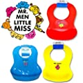 CrazyGadget® Pack of 3 Soft Plastic Baby Toddler Bibs Creatively Designed By MR MEN Food Catcher Pocket, Waterproof and Wipe Clean Flexible, Durable and Washable from CrazyGadget®