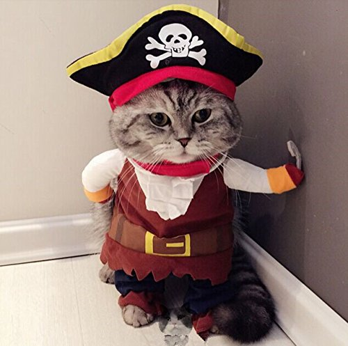 Pet Dog Cat Pirate Sailor Halloween Christmas Gift Fancy Dress Costume Outfit Clothes-M