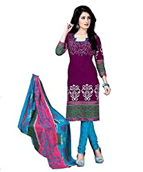 Pruthu Cotton Cotton Printed Dress Material Unstitched (pt_434_Maroon_Free Size)
