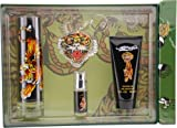 Ed Hardy Speedy Gift Set 4 Pieces [100 ml Eau De Toilette Spray+ 90 ml Gel+8 ml Miniature Spray+Key Chain] Men