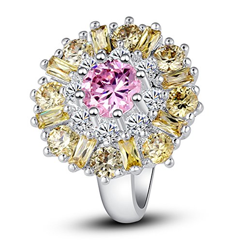 [Psiroy Women's 925 Sterling Silver 5cttw Pink Topaz Filled Ring] (Good Costumes For Two Best Friends)