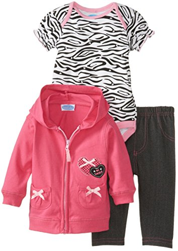 Bon Bebe Baby-Girls Newborn So Lovely Cardigan Bodysuit And Pant Set, Multi, 0-3 Months front-917697
