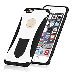 iPhone 6S Cases,iPhone 6 Cases, Ruky Hard Cover Printed Design PC+ Silicone Hybrid High Impact Defender Case Combo Hard Soft Cases Covers for iPhone 6S 6 - (White & Black)