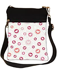 Snoogg White Hearts In Colorful Circles Cross Body Tote Bag / Shoulder Sling Carry Bag